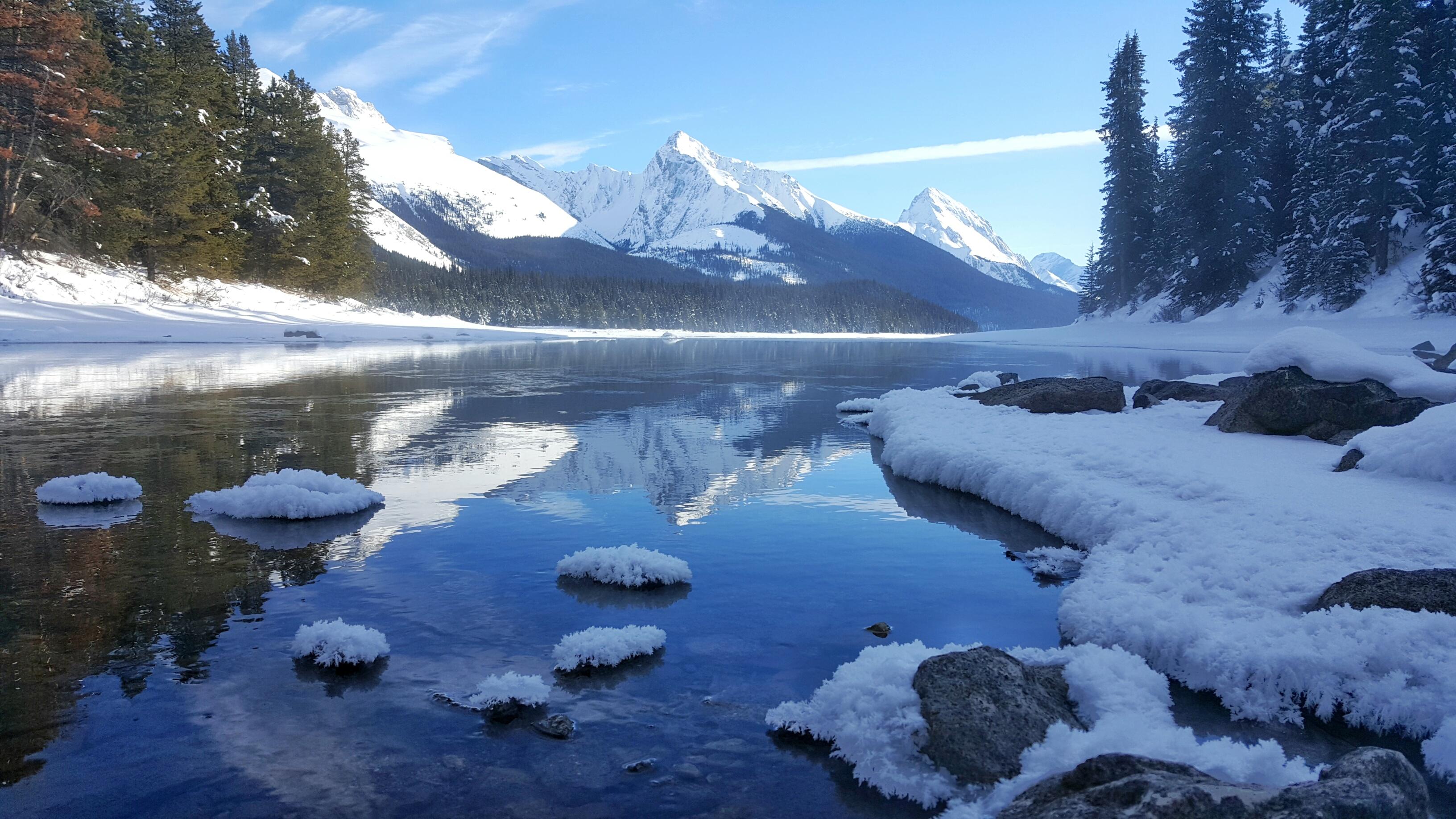 Fifteen Top Winter Activities in Alberta, Maligne Lake, Jasper, Alberta, Canada, Banff