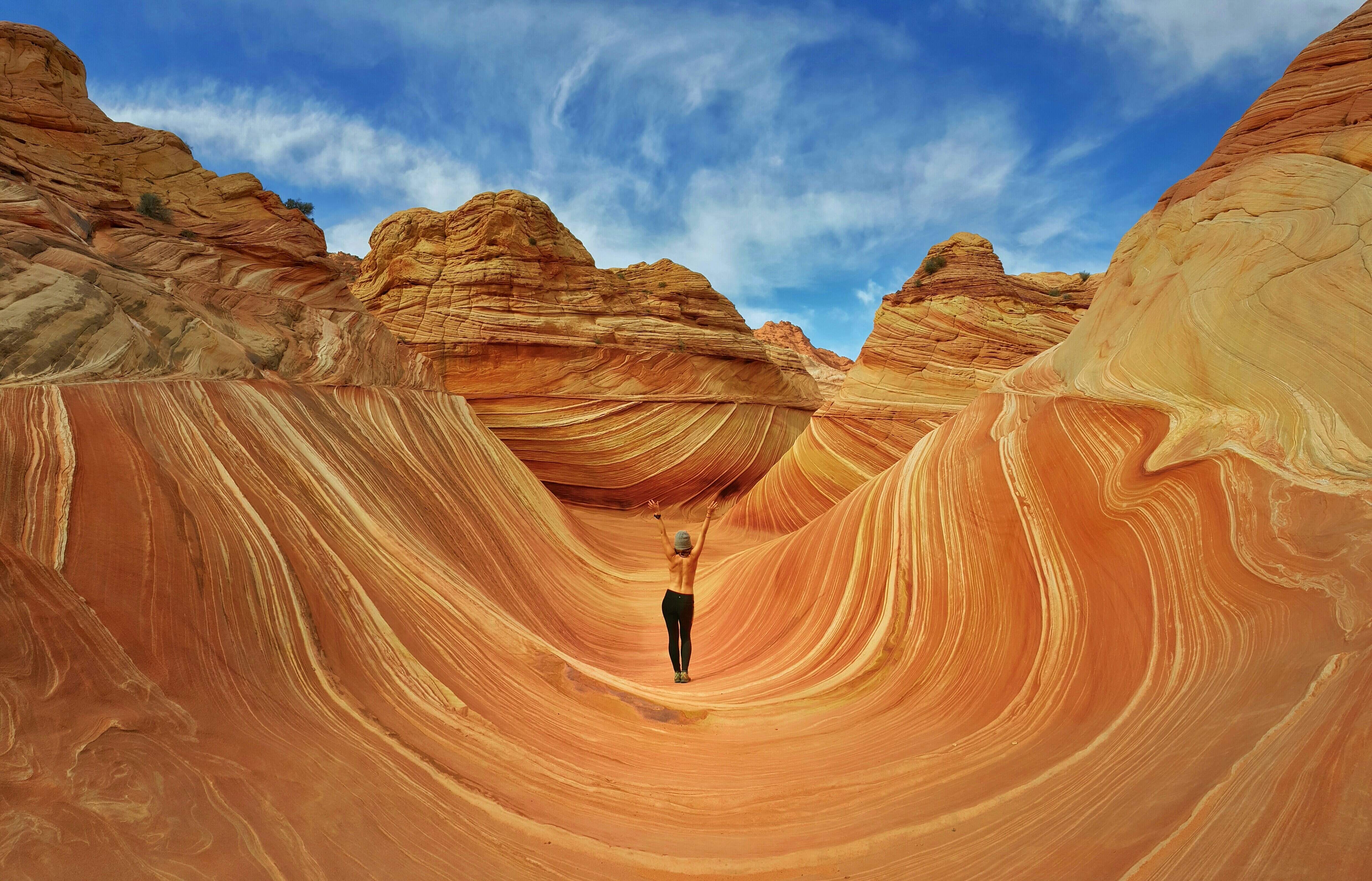 lady with no top on at The Wave in Coyote Butte, Arizona