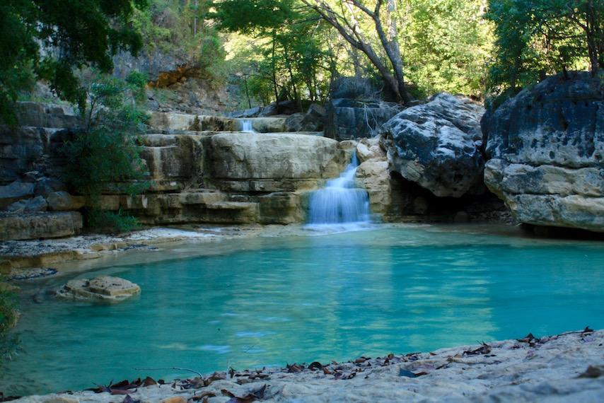bright blue Natural Swimming Hole along the Tsiribihina River