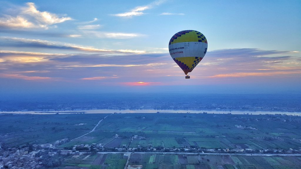 sunset and beautiful scenery of Hot air balloon ride over the West Bank