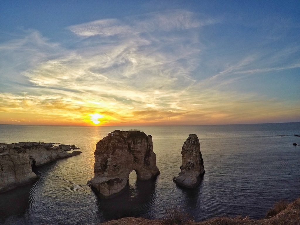 sunset at Raouché Rocks in Beirut