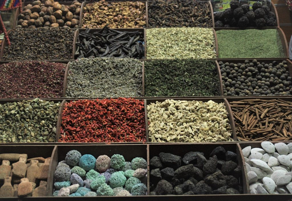 large array of different colors and Spices at the Aswan souq
