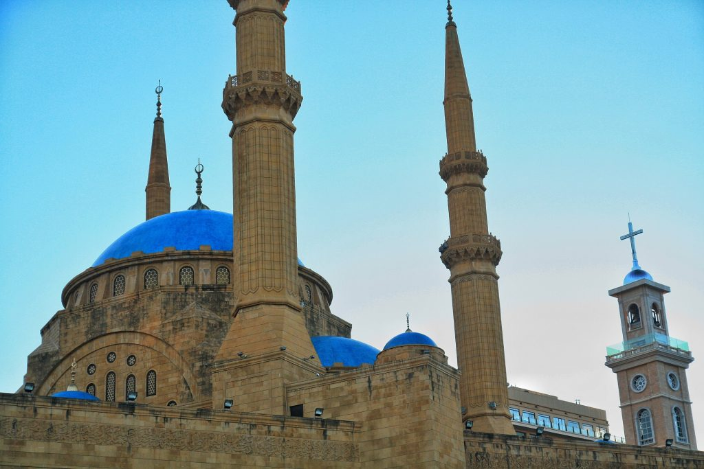 blue dome of Mohammed Al-Amin Mosque in Beirut
