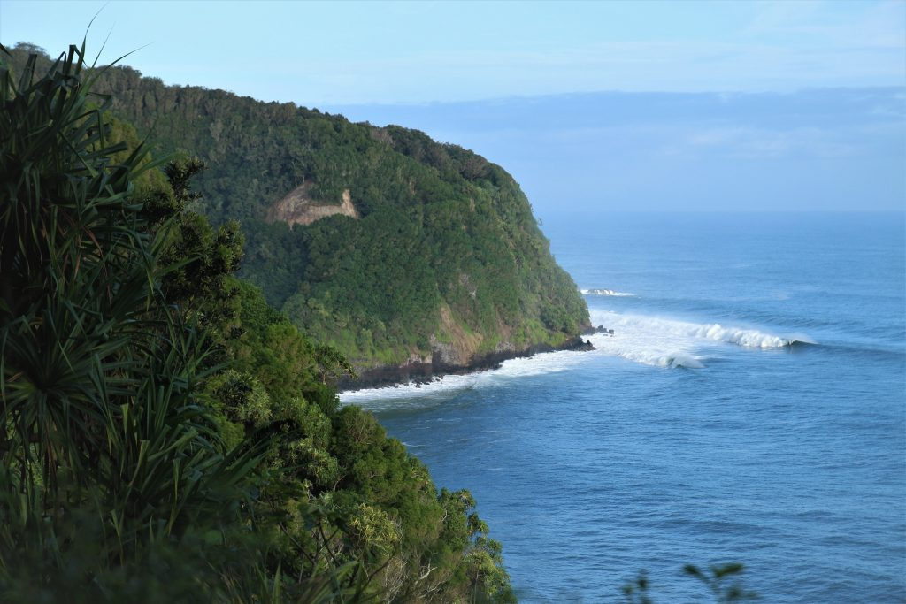 Scenery of coast at Wailua Lookout