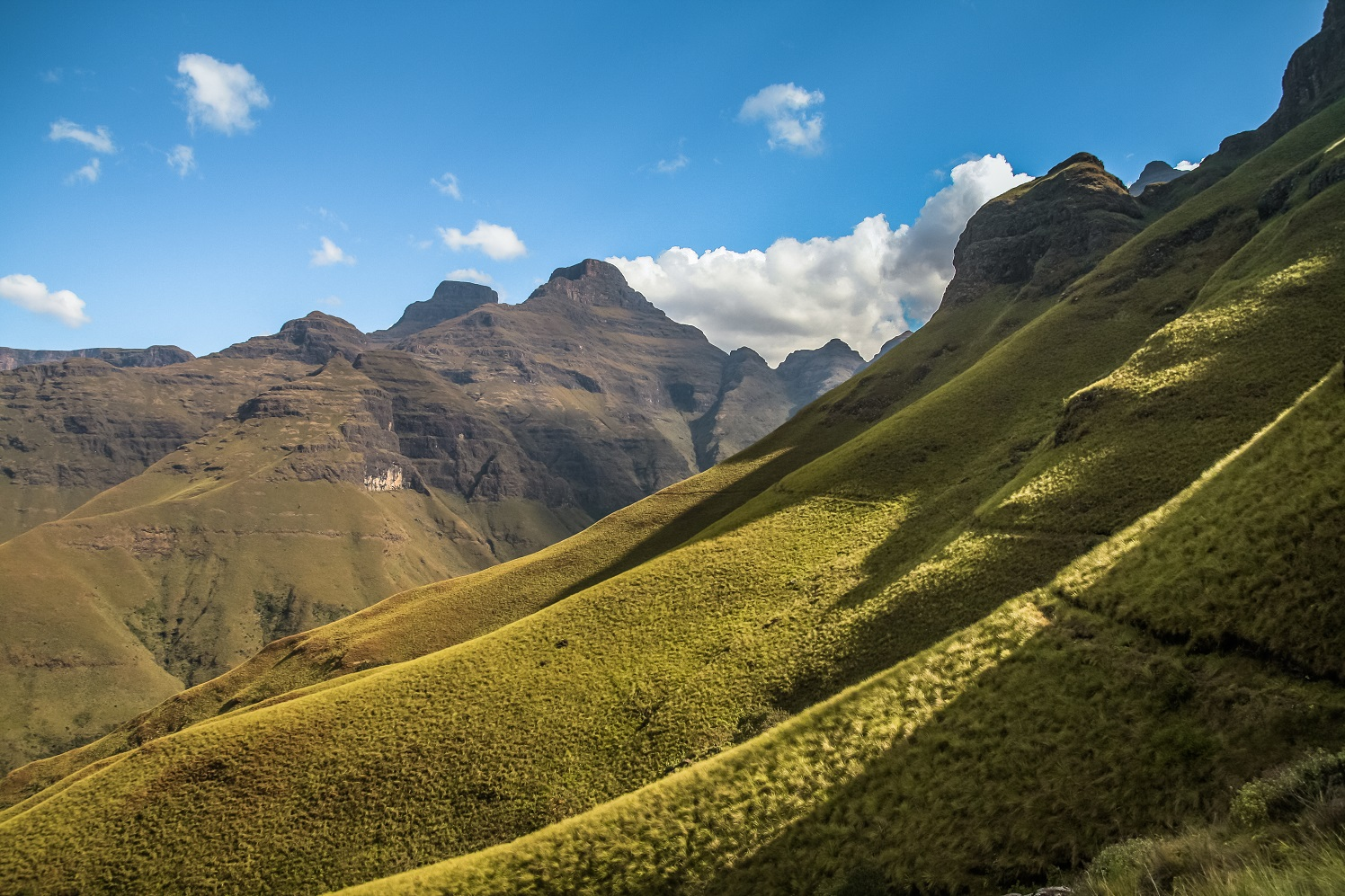 Scenic view of Cathedral Peak in the Drakensberg Mountains, South Africa