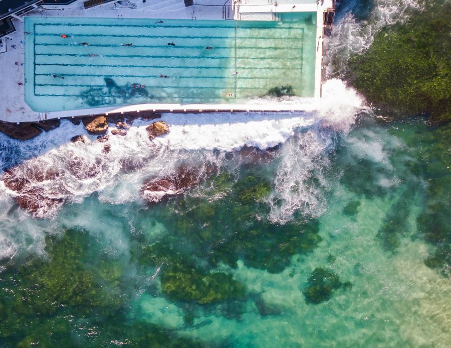 bird's eye of Bondi Icebergs Pool with waves