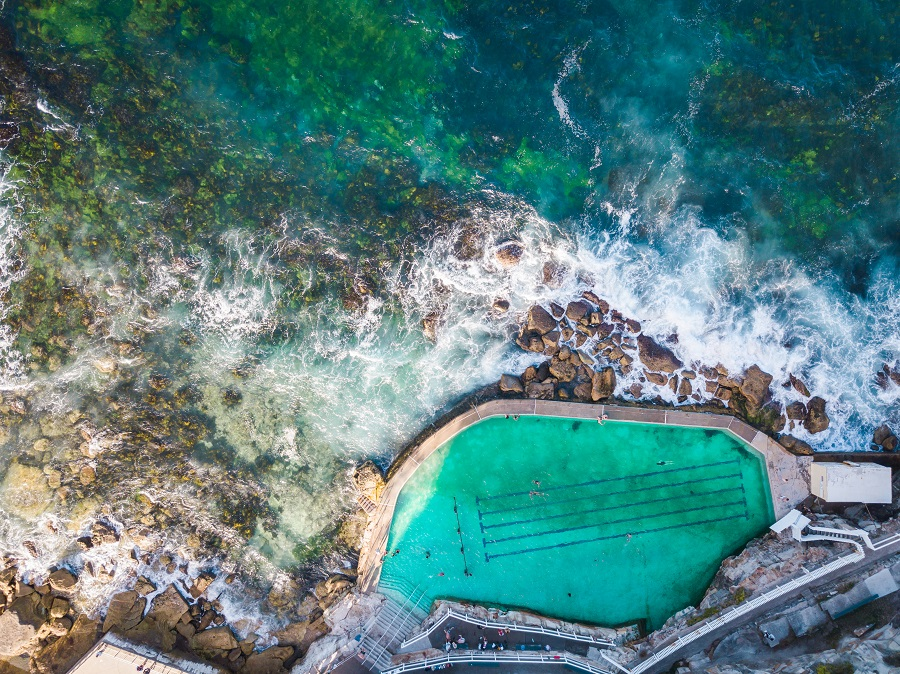 beautiful drone view of Bronte Baths
