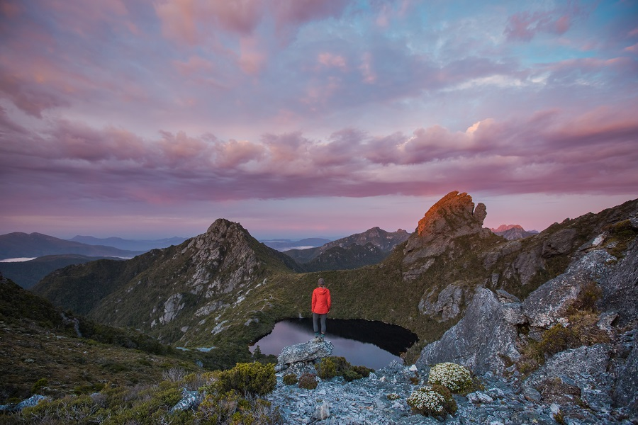person looking at Sunrise at Haven Lake in the Western Arthurs, Tasmania