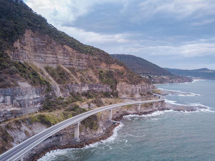 Aerial view of the Sea Cliff Bridge