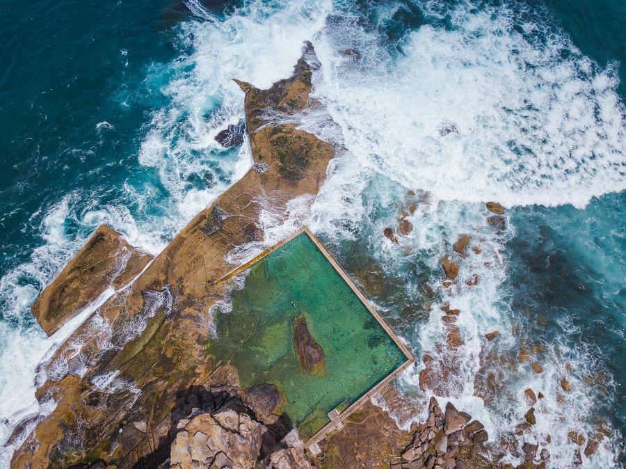 Aerial view of rock pool at North Curl Curl Beach