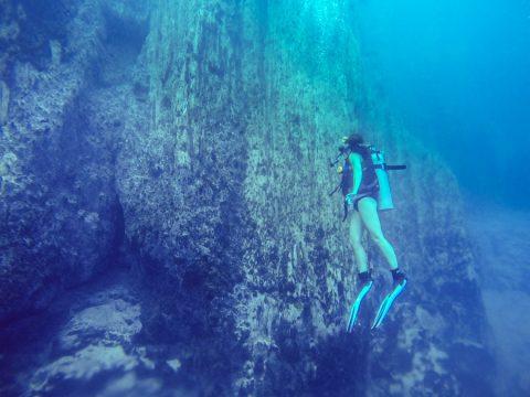 Diver along the Limestone cliff walls in Barracuda Lake, Coron