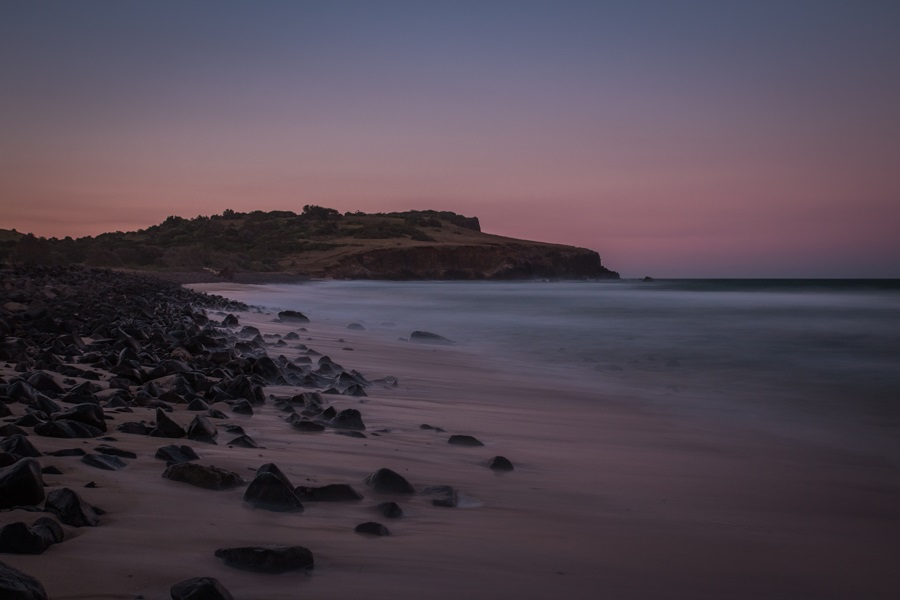 A colorful sunset at Boulder Beach in Lennox Head