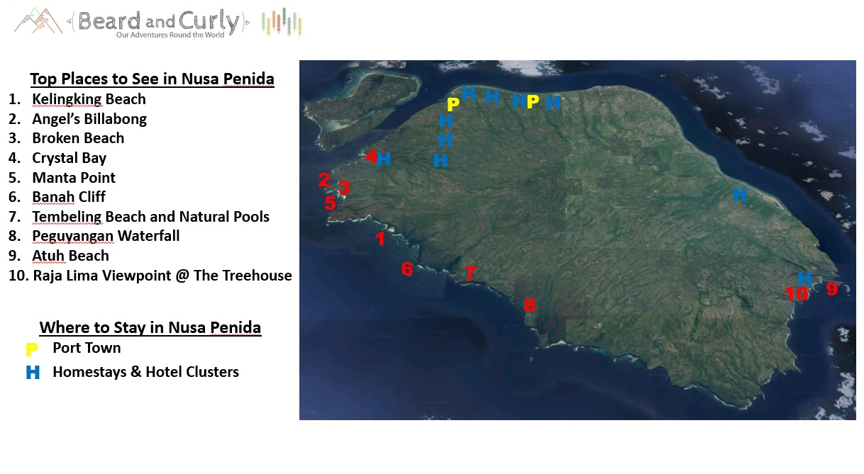 Nusa Penida Map and Points of Interest. www.beardandcurly.com