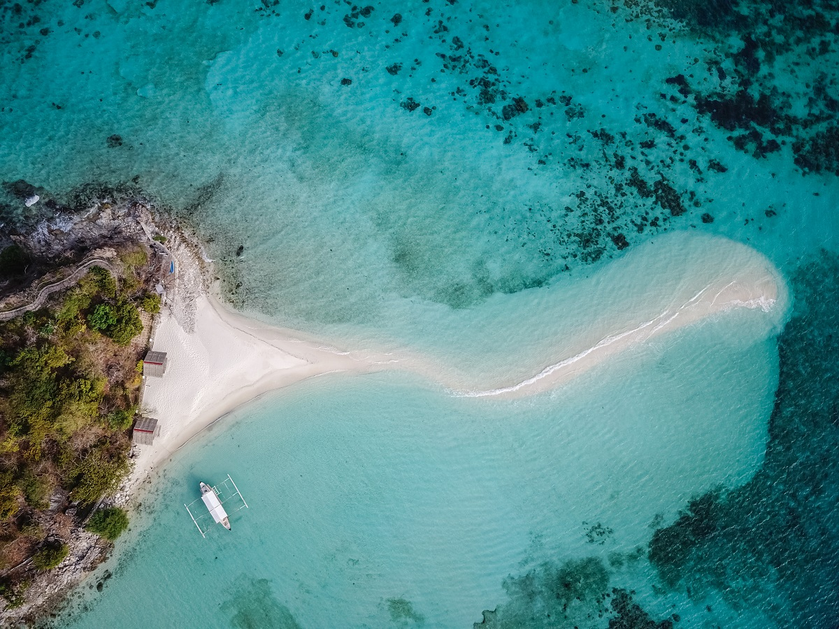 Airborne perspective of Snake Island in Palawan
